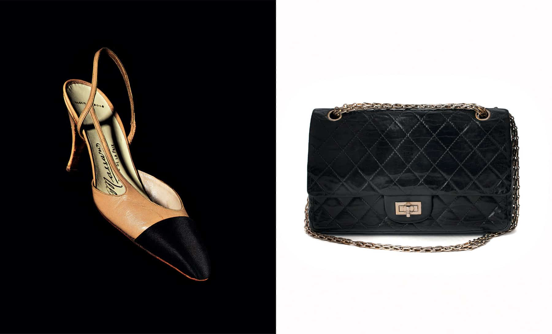 Chanel leather and satin shoes, quilted handbag