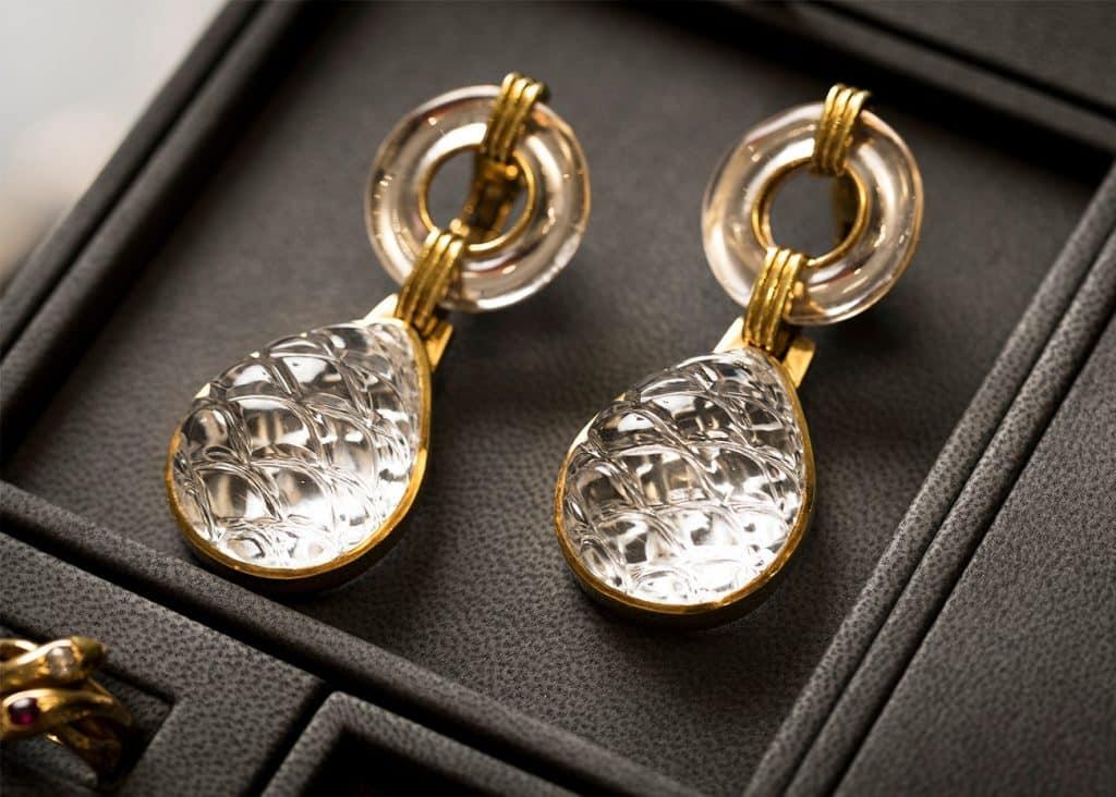 David Webb 1970s rock crystal and gold pendant earrings