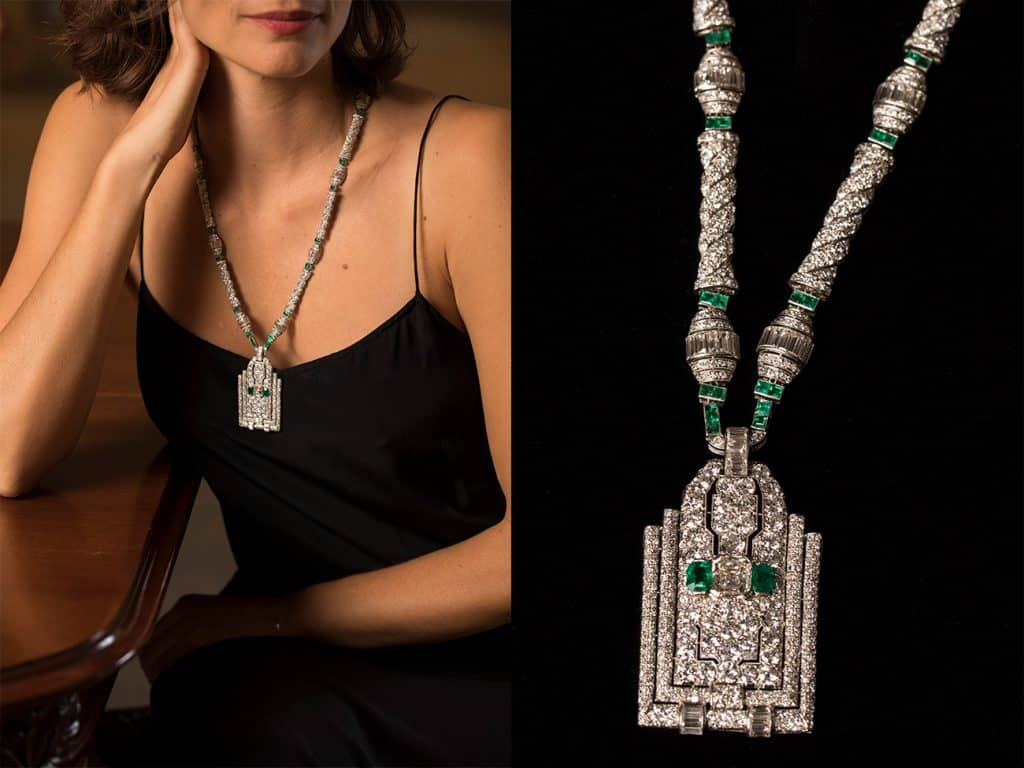 French Art Deco platinum necklace by Henri Picq