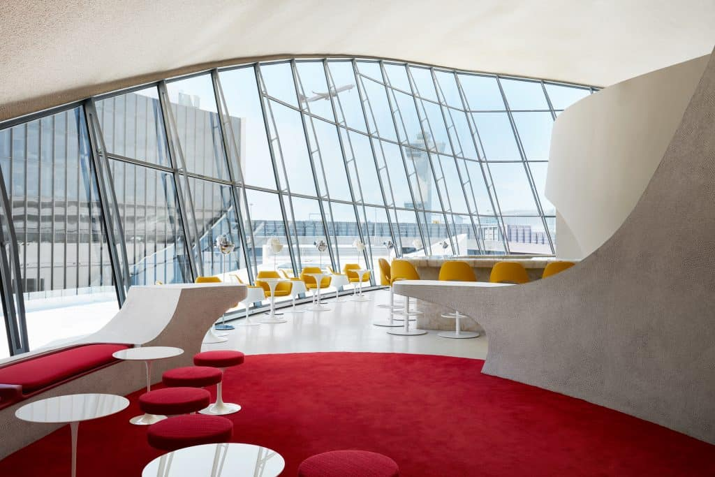 The Sunken Lounge and the Paris Café at the TWA Hotel.