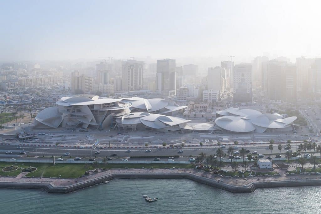 Aerial view of the National Museum of Qatar in Doha.
