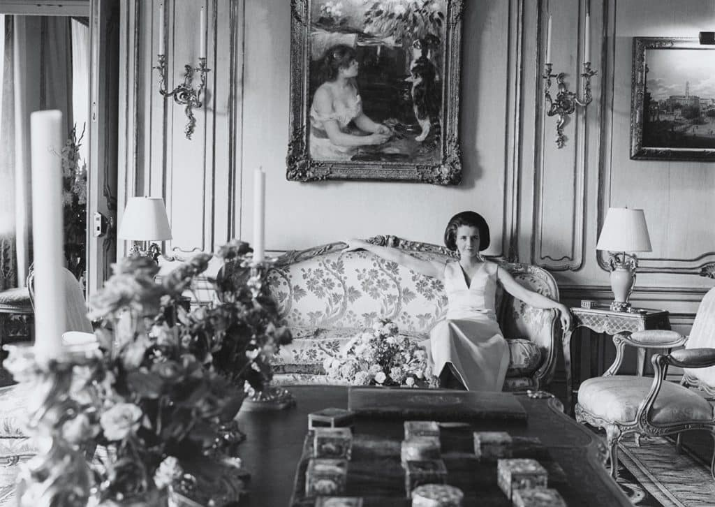 Jayne Wrightsman surrounded by her fine French furniture and art in her New York apartment.
