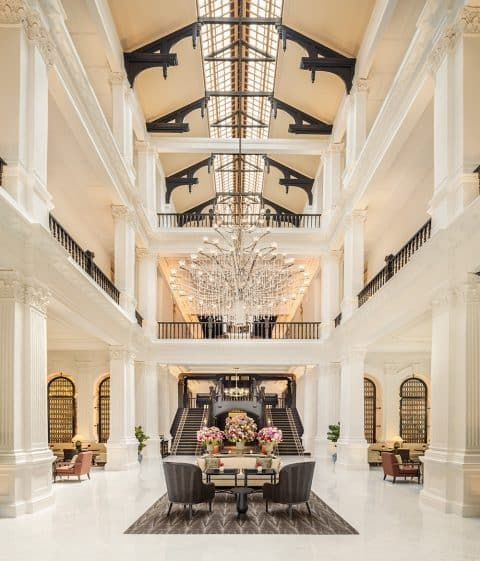 Grand Lobby of the Raffles Singapore revamped by Champalimaud Design.