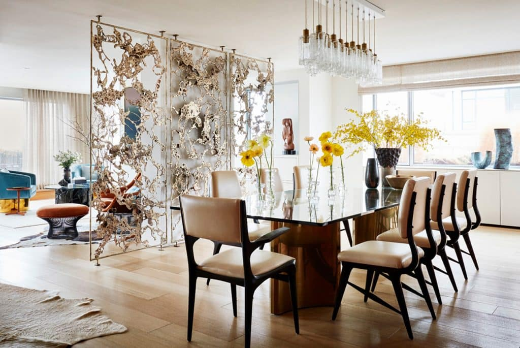 New York Interior designer Amy Lau custom commissions Silas Seandel screen room divider East End Avenue