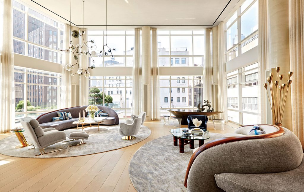 New York Interior designer Amy Lau custom commissions Vladimir Kagan double-sided sofas Tribeca