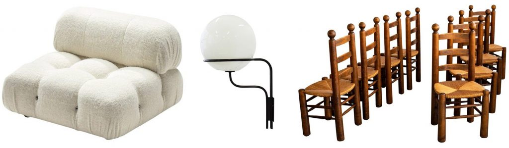 Mario Bellini Camaleonda elements; Ico Parisi Mod. No. 256 wall lights for Arteluce; Charles Dudouyt dining chairs