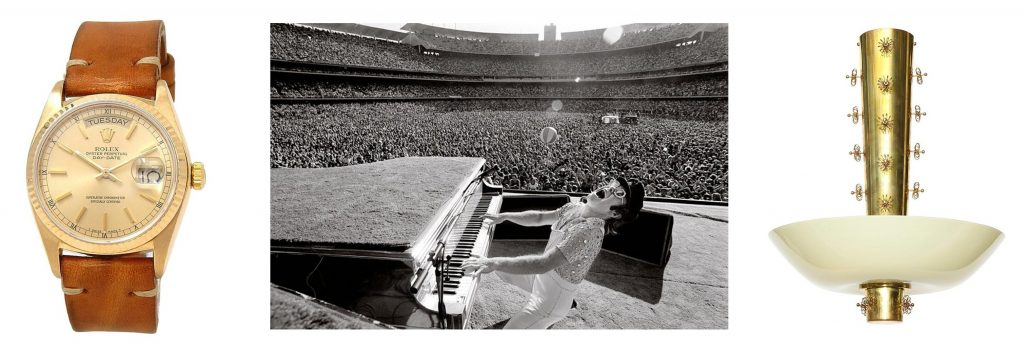 Rolex Day-Date 5 Serial Automatic Men's Watch 18038; Elton John at Dodger Stadium, 1975, by Terry O'Neill; Paavo Tynell Chandelier