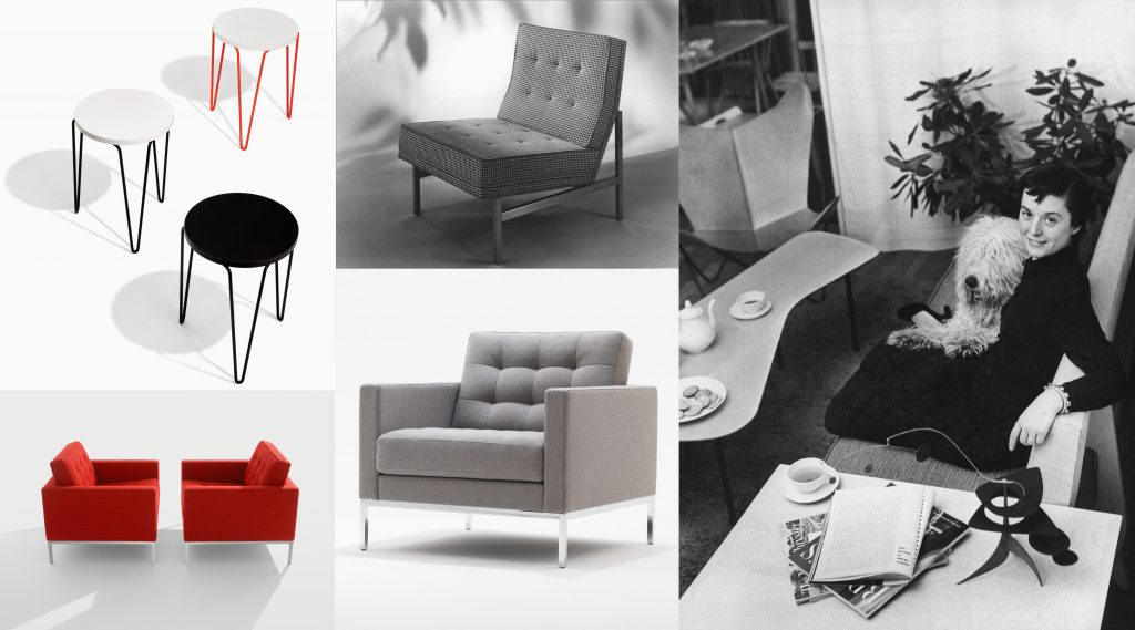 Florence Knoll and some of her modern furniture.