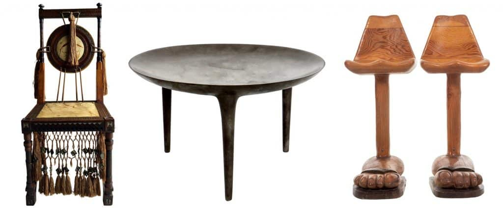 Carlo Bugatti walnut and copper side chair; Rick Owens cast bronze low brazier side table Nitrate Patina; American Craft foot stools