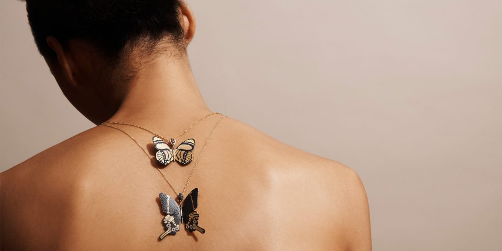 James Banks butterfly necklaces