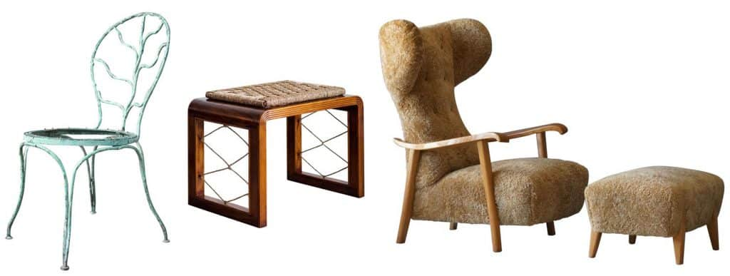 Alberto Giacometti for Jean Michel Frank wrought iron garden chair; Pair of Jean Royere-style stools; Renzo Zavanella-attributed lounge chair and ottoman