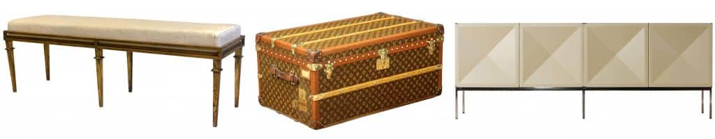 French modern neoclassical gilt iron bench; Louis Vuitton trunk; Antoine Philippon and Jacqueline Lecoq sideboard by Behr