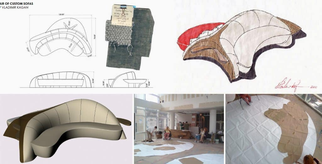 New York Interior designer Amy Lau custom commissions Vladimir Kagan double-sided sofas process drawings Tribeca