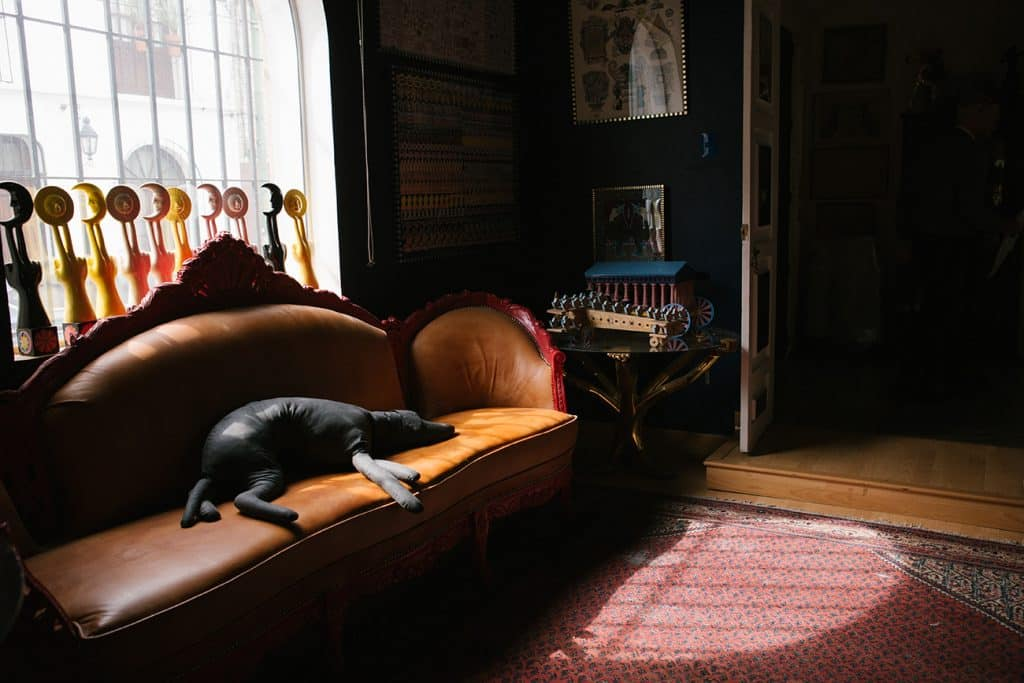 Pedro Friedeberg couch with stuffed dog