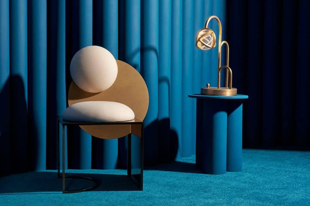 Bohinc Studio Celeste Chair and Planetaria Globe Light