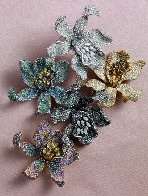 Ciner floral brooches