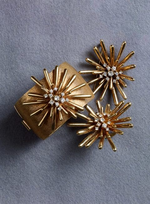 golden sputnik cuff, pin and cocktail ring