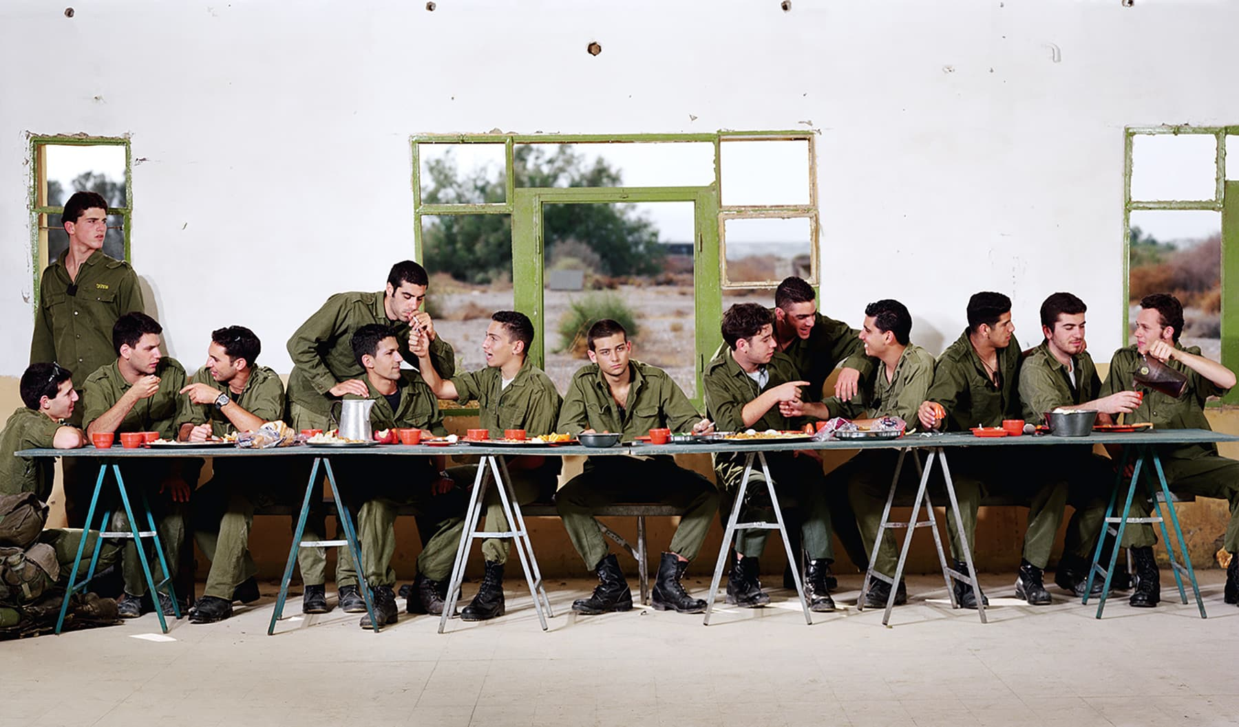 Untitled (The Last Supper Before Going Out to Battle), 1996, by Adi Nes