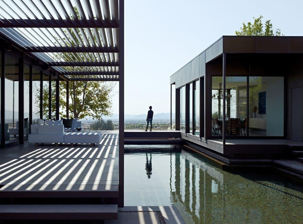 Site: Marmol Radziner in the Landscape Las Vegas prefab house exterior pool terraces pergola