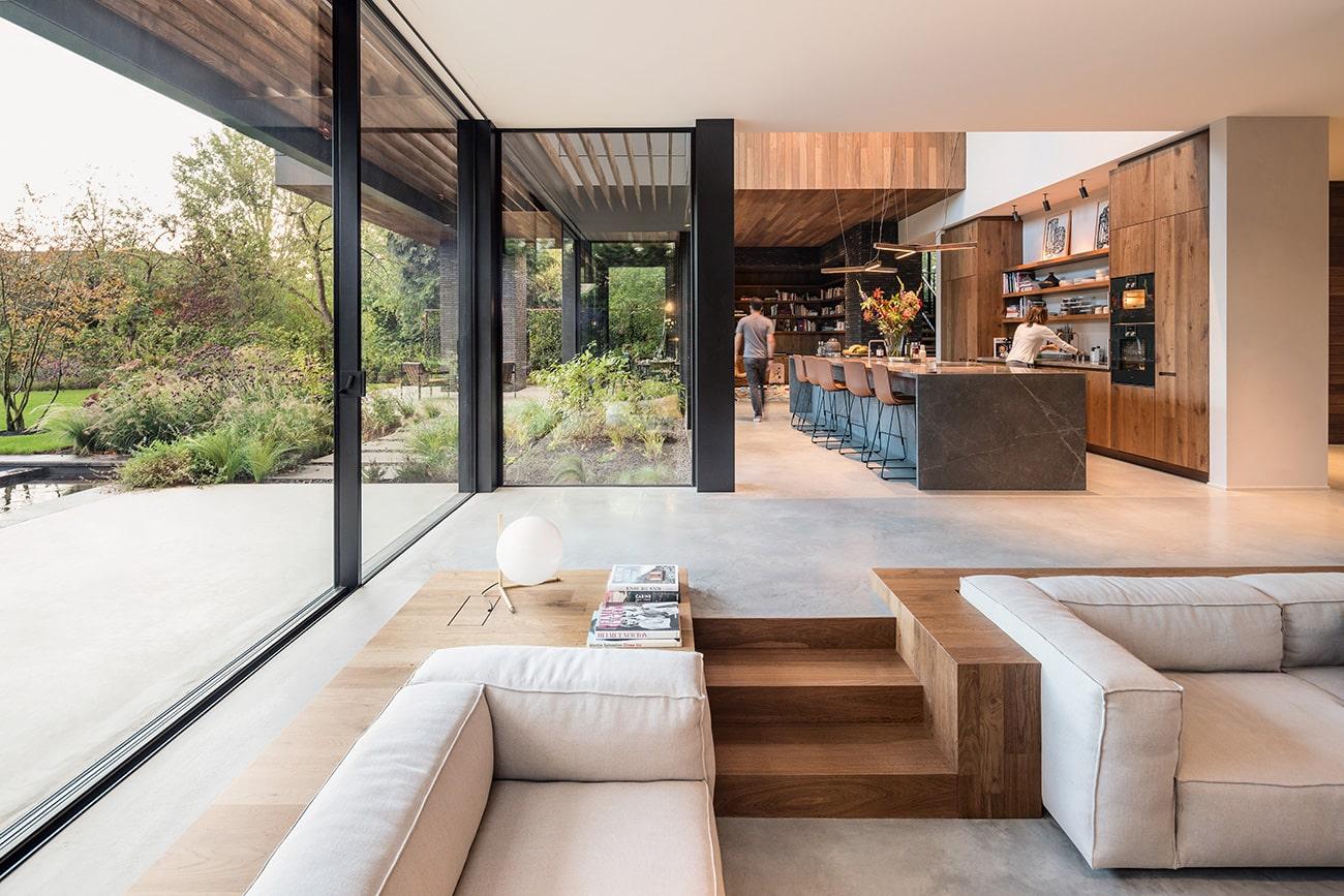 Site: Marmol Radziner in the Landscape Amsterdam Netherlands house sunken living room kitchen
