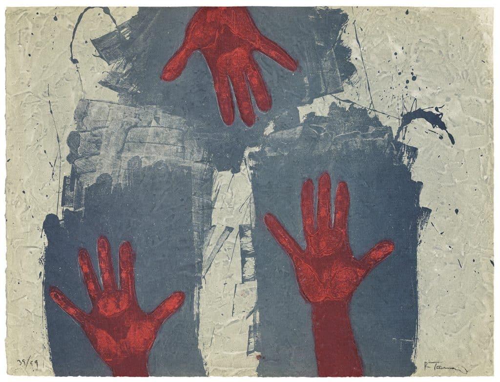 Rufino Tamayo, Hands on Blue Background (Manos sobre fondo azul), 1979