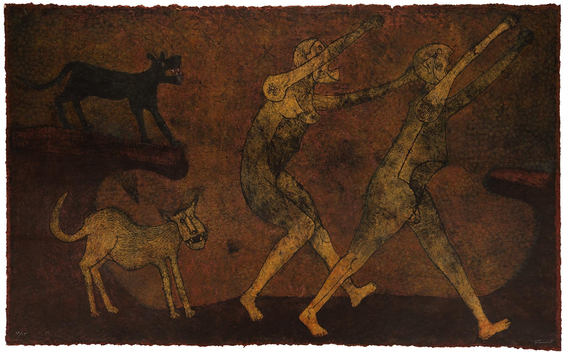 Rufino Tamayo Dos personajes atacados por perros (Two Personages Attacked by Dogs), 1983