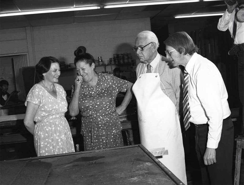 Rufino Tamayo and Luis Remba (right) with their wives, Lea Remba (far left) and Olga Tamayo (second from left) at the Mixografia Workshop in Mexico City, ca. 1980-1985