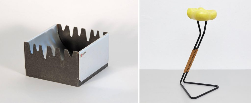 Left: Max Huber for Arteluce ashtray, 1960s. Right: Georges Jouve and Mathieu Mategot yellow ceramic ashtray, ca. 1950