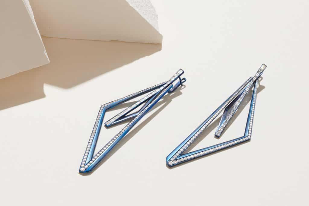 Stephen Webster Vertigo Very Obtuse titanium and white diamond hoops