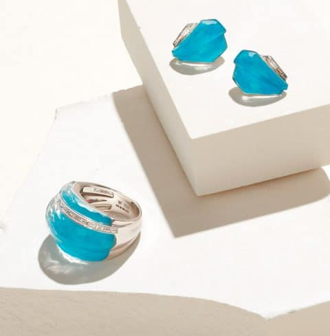Stephen Webster 25th anniversary Crystal Haze collection, or CH2, includes this cocktail ring with dark turquoise and white diamonds and cuff earrings