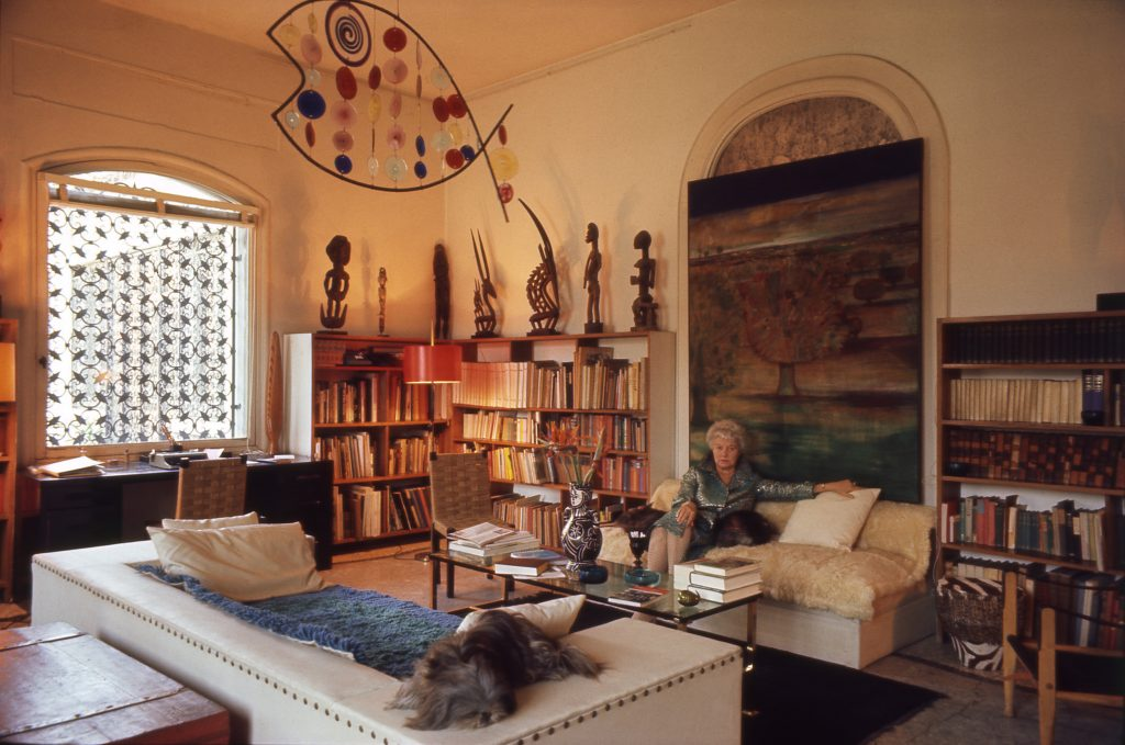 Peggy Guggenheim palazzo library René Brô painting African sculptures Fish by Alexander Calder