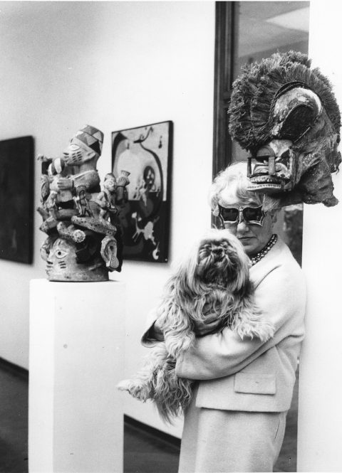 Peggy Guggenheim palazzo ElsaSchiaparelli sunglasses Lhasa apso dog Yoruba Ago Egungun headdress Tatanua mask Papua New Guinea Max Ernst painting