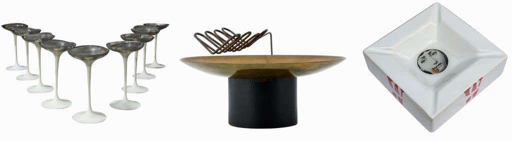 Eero Saarinen for Knoll International set of nine white tulip ashtrays; sculptural marijuana ashtray bowl; Fornasetti for Winston ashtray