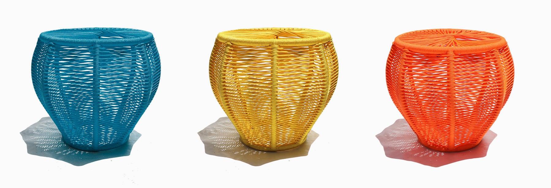 Sregio J. Matos's Carambola stools in three colors