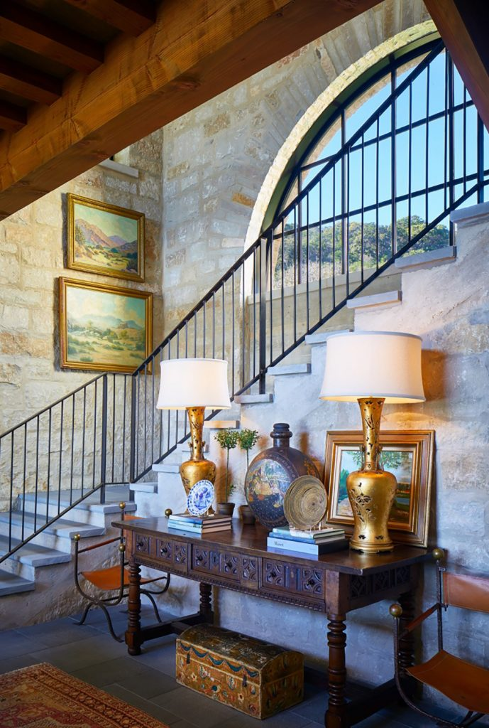 Texas interior design Melissa Morgan M Interiors Medina living room staircase