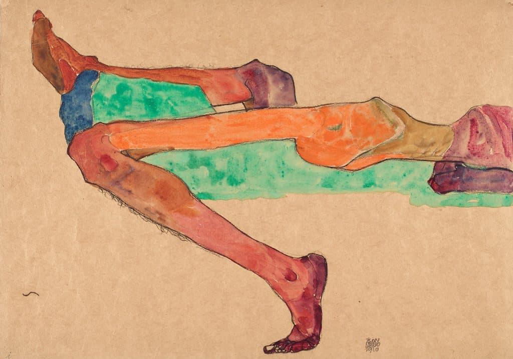 TEFAF Maastricht 2020 Wienerroither and Kohlbacher Vienna Egon Schiele Reclining Male Nude