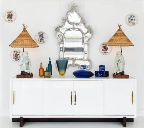Dragonette William Haines monkey lamps on a Tommi Parzinger credenza
