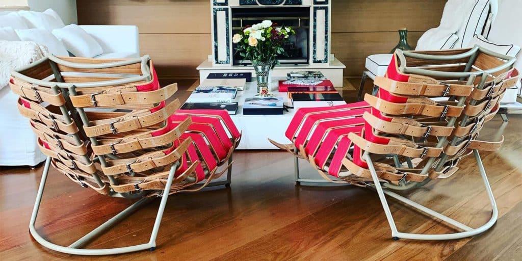 A Cristiane Guerino-designed living room featuring Sergio J. Matos's Arreio lounge chair