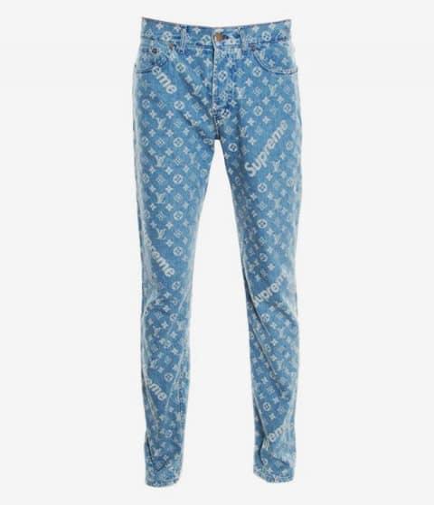 Louis Vuitton x Supreme Blue Monogram Jacquard Denim Jeans