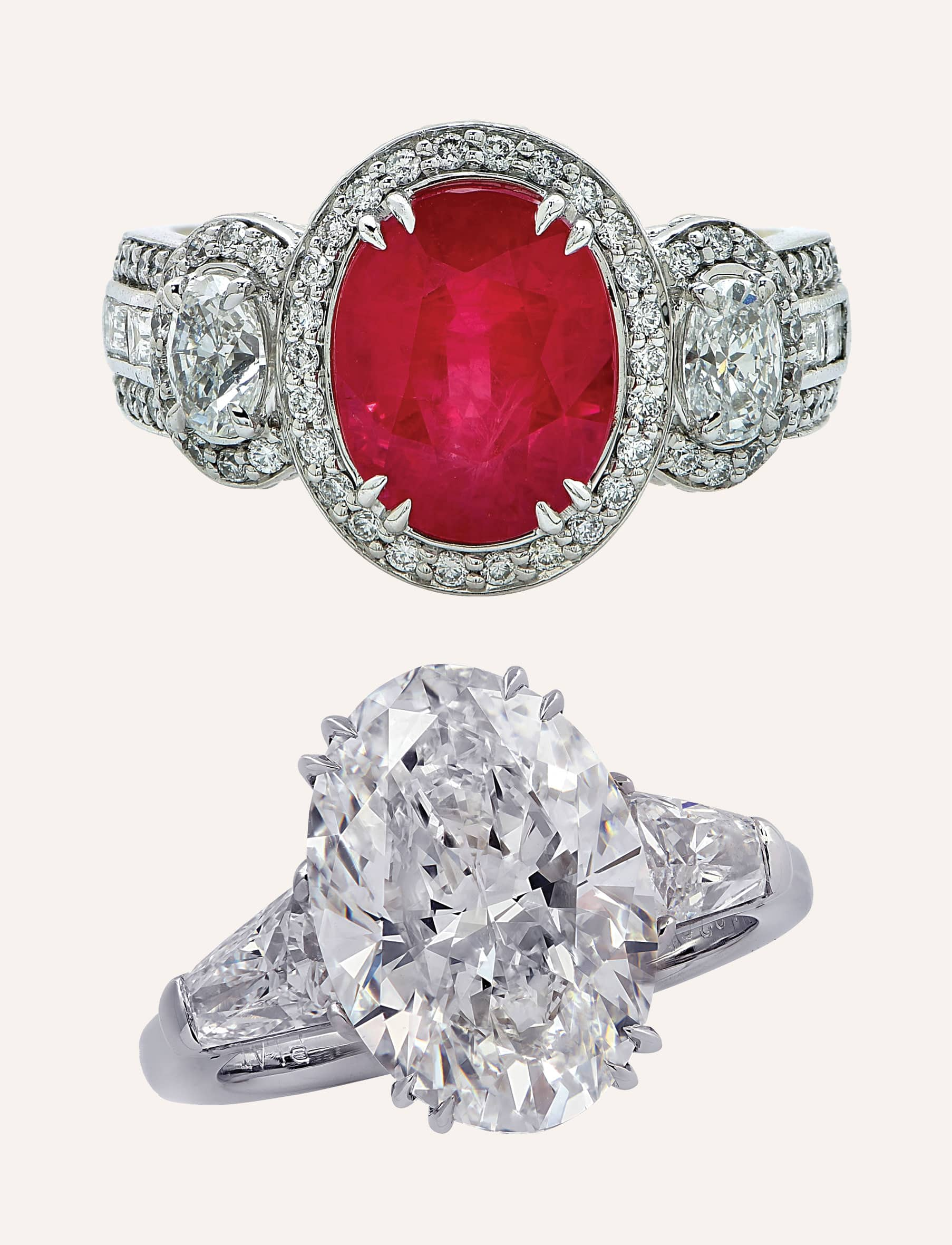 Above: 3.50-carat ruby and diamond ring, 21st century; below: 5.02-carat oval ring, 2020