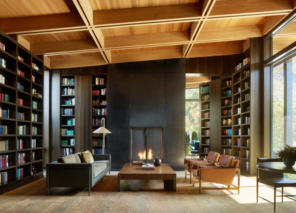 Architect Tom Kundig Olson Kundig Salt Lake City Wasatch House library study home office fold-away bookshelves