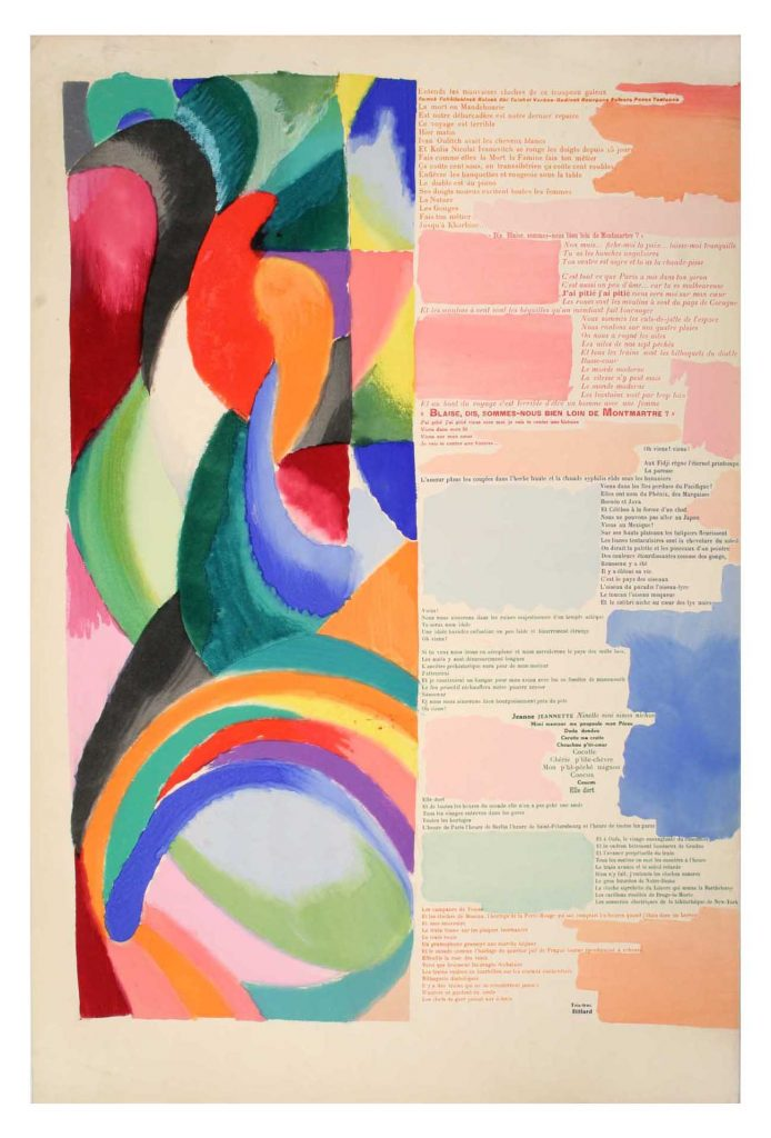 Artist Sonia Delaunay and poet Blaise Cendrars collaborated on Prose on the Trans-Siberian Railway and of Little Jehanne of France, which was published in 1913