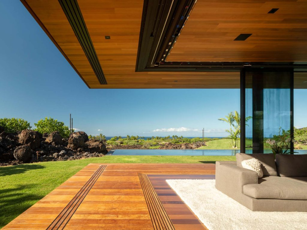 Architect Tom Kundig Olson Kundig Hawaii house Hale Lana living area sliding glass wall