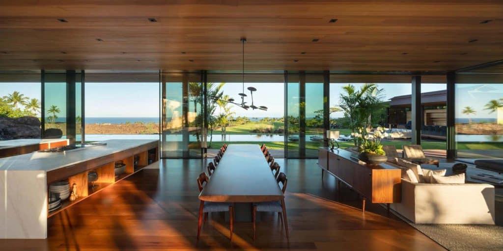 Architect Tom Kundig Olson Kundig Hawaii house Hale Lana living dining area