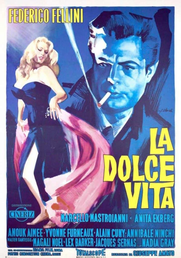 vintage movie poster Federico Fellini La Dolce Vita At the Movies