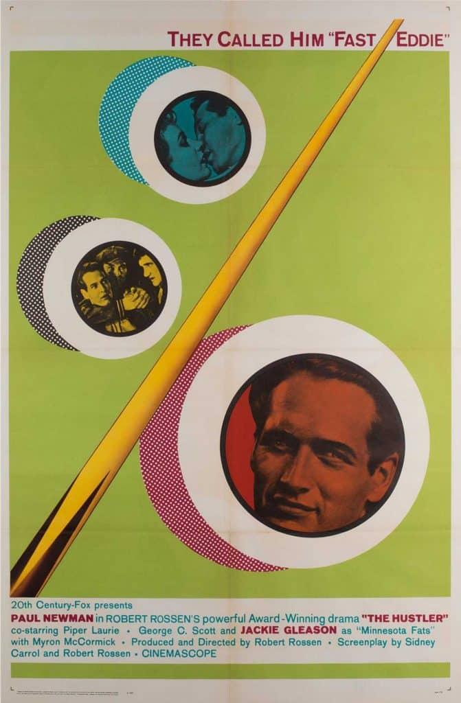 Paul Newman The Hustler 1964 re-release vintage movie poster Orson & Welles