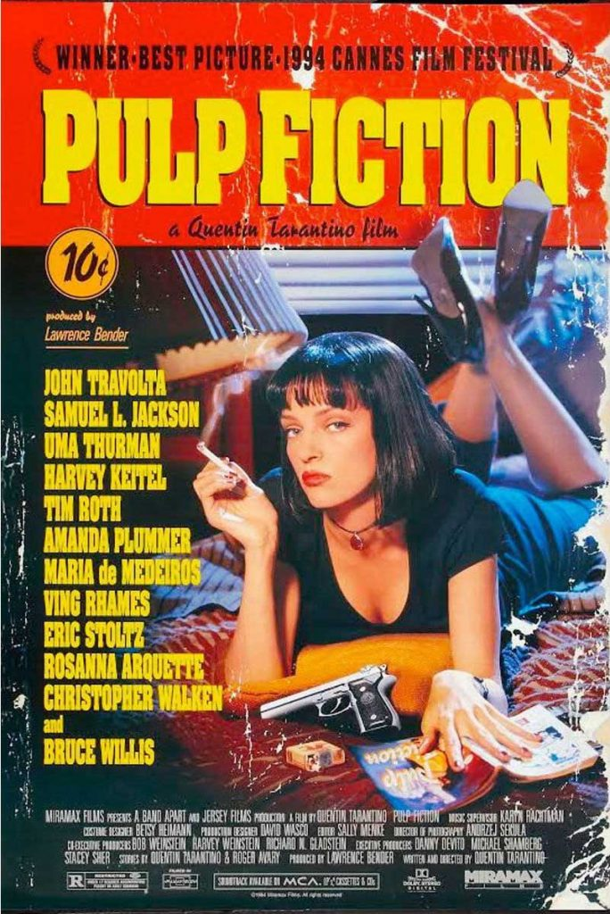 vintage movie poster Quentin Tarantino Pulp Fiction At the Movies