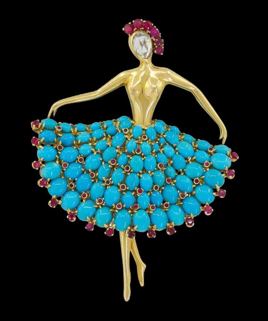 Van Cleef & Arpels ruby and turquoise ballerina brooch, 1952