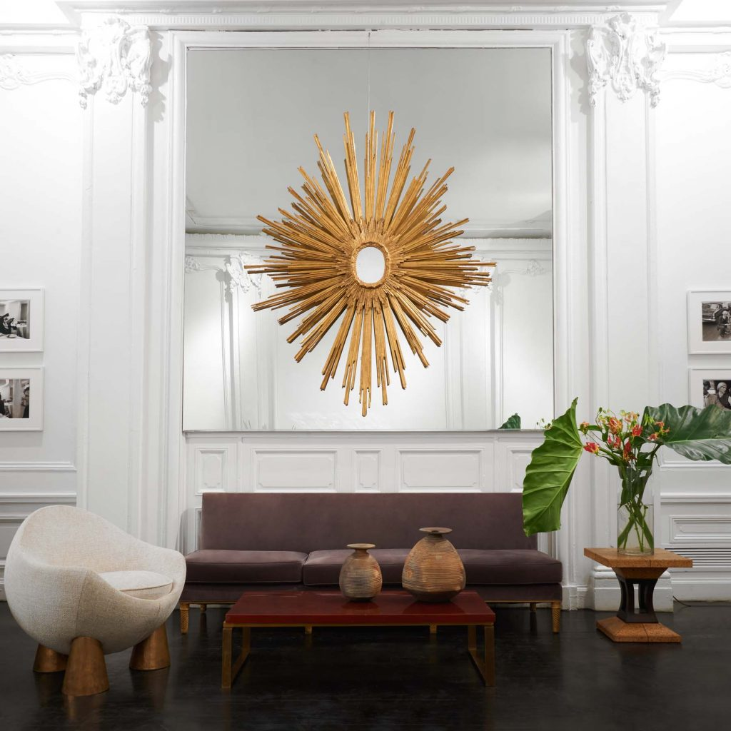 Jacques Adnet Sunburst Wall Mirror (one of a kind, made for Compagnie des Arts Francais) installed at Maison Gerard at The Elizabeth Collective, 2019
