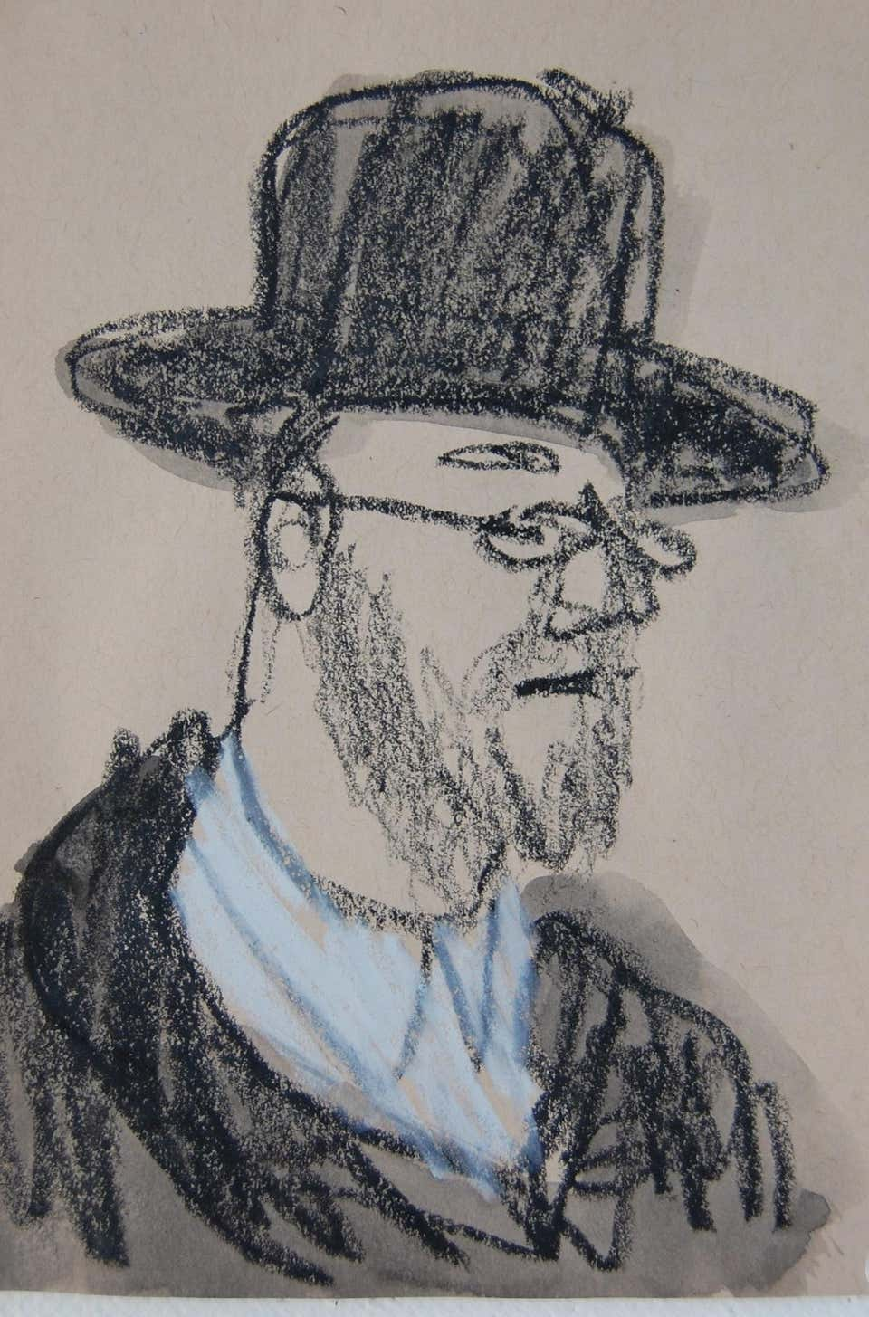 Man with Brimmed Hat and Beard, 2017, by Patrick Jewell